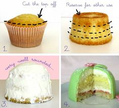 Princess Cupcakes (a mini version of the Swedish Princess Cake) @ Delicious Recipes Cupcake Recipes, Cupcake Cakes, Dessert Recipes, Rose Cupcake, Cupcake Ideas, Cup Cakes, Food Cakes, No Bake Desserts, Just Desserts