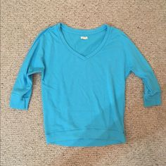 2 Aeropostale 3/4 sleeve v neck shirts Pretty blue and bright white. Super comfy and versatile Tops Tees - Long Sleeve