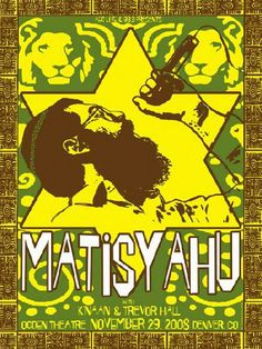 Original silkscreen concert poster for Matisyahu at the Ogden Theatre in Denver, CO. 18 x 24. Signed and numbered limited edition of only 100 by artist Maria DiChiappari