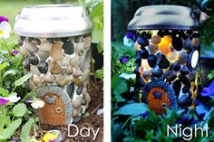 Learn how to make a DIY solar powered fairy house - perfect for a nightlight or to go in your fairy garden. A great craft for kids and adults alike! Solar Fairy House, Fairy Garden Houses, Gnome Garden, Fairy Gardens, Fairies Garden, Garden Crafts, Garden Projects, Garden Art, Craft Projects