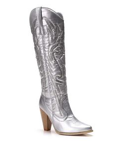 This Silver Embroidered Holie Western Boot is perfect! #zulilyfinds