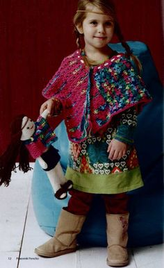 Colorful kid's crochet poncho