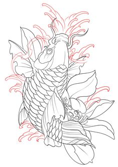 Chest Tattoo Japanese, Traditional Japanese Tattoo Sleeve, Japanese Hand Tattoos, Japanese Koi Fish Tattoo, Koi Fish Drawing, Japanese Dragon Tattoos, Japanese Tattoo Designs, Half Sleeve Tattoo Stencils, Koi Tattoo Sleeve