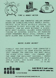 Postcard ad for Time & Money Meter and Quick Clock Adjust programs (1981). Telephone, Being Used, Programming, Connection, Software, Clock, Money, Watch, Phone