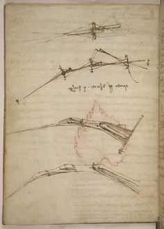 A page from DaVinci's Codex on the Flight of Birds.   http://blog.library.si.edu/wp-content/uploads/2013/12/SIL7-358-018.jpg