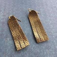 Metallic gold leather earrings fringe gold leather dangle