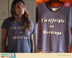 "Emily's ""I'm allergic to mornings"" tee on Pretty Little Liars. Outfit Details: http://wornontv.net/27025 #PLL #fashion"