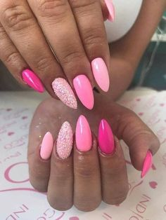 Trendy Pink Gel Nail Colors For American Girls - Reny styles Pink Gel Nails, Pink Nail Art, Gel Nail Colors, Love Nails, My Nails, Pink Sparkle Nails, Barbie Pink Nails, Colorful Nails, Fall Nails