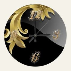 Obsidian Black and Gold Scroll Wall Clock http://www.zazzle.com/obsidian_bling_wall_clock-256546967233525085?gl=UTeezSF=238346027810244797
