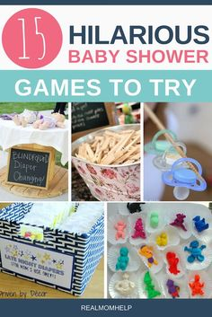 Find easy baby shower games that will entertain everybody even in a large group. When throwing a baby shower, you have to make sure your guests have fun. Find hilarious ideas and useful tips on how to make baby shower games an absolute hit. Baby Shower Games For Large Groups, Easy Baby Shower Games, Baby Games, Baby Shower Themes, Bany Shower Games, Shower Ideas, Planning A Baby Shower, Cheap Baby Shower Decorations, Baby Shower Game Gifts