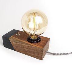 Amazon.com: Black Walnut Desktop Edison Lamp / Grey Contrast: Handmade