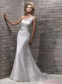 Unique Column One Shoulder Lace Wedding Dress WD-3046
