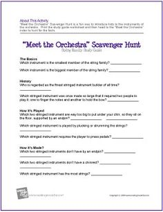 """Meet the Orchestra"" Scavenger Hunt 