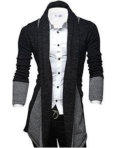 amazing Tom's Ware Mens Classic Slim Fit Marled Zigzag Shawl Collar Cardigan TWGG1308-BLACK-US S