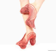 Inspired by spirals, 2015. The shoes where the product of the shoe course at the Bezalel Academy of art and design, with professor Eliora Lemmer Ginsburg. Materials: Naylon12, 3D printed. © Neta Soreq