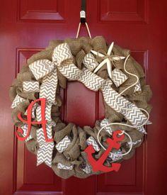 Cute Crafts by Ash Burlap nautical wreath with monogram Created by Ashley Hughes www.facebook.com/cutecraftsbyash