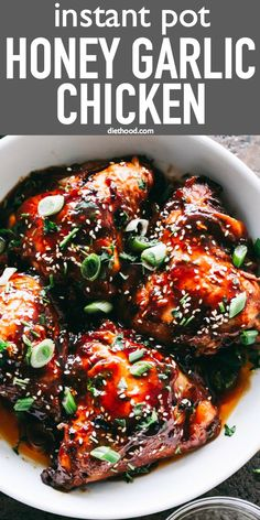 instant pot recipes Instant Pot Honey Garlic Chicken Recipe Sweet, savory, tender and OH SO juicy chicken thighs prepared with the most amazing honey garlic sauce and cooked in an Instant Pot. Dinner, from start to finish, will be ready in 30 minutes! Garlic Chicken Thighs Recipe, Garlic Chicken Recipes, Recipe Chicken, Chicken Thighs Instant Pot Recipe, Homey Garlic Chicken, Sticky Chicken Thighs, Bone In Chicken Thighs, Instapot Recipes Chicken, Bone In Chicken Recipes
