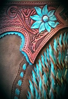 Turquoise and brown leather chaps This pin was repinned by Equestrian Boots & Bridles :) Happy riding! Martina @ https://equestrianbootsandbridles.com