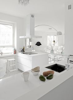 what 'never' to do in feng shui - white is the metal element, and in a kitchen/living space, it could really create more discord than harmony. would not be my choice, for sure. yet it's lovely in its own way ... bela