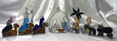 Nativity, Manger Scene, Cresh In Stained Glass Ninteen Piece Set Complete with Tote for Seasonal Storage by SerendipityGlassWrks on Etsy