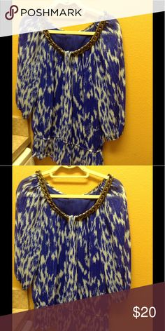 Alfani top Gorgeous top blue white and yellow like new Alfani Tops Blouses