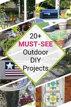 Get inspired by these 20+ outdoor diy projects to create for your own home.  So many great projects for your yard, garden, porch, or patio. Don