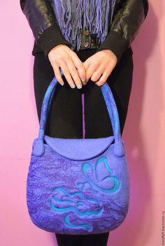 """Женские сумки ручной работы. Ярмарка Мастеров - ручная работа. Купить Сумка валяная """"Miracle"""", валяная сумка с цветком, синяя роза. Handmade."""