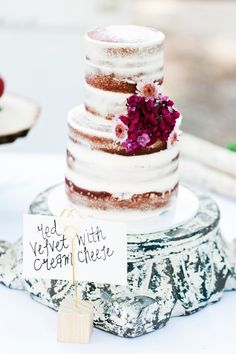 Flavour and style: Red Velvet naked Wedding cake This is the type of cake we would like. Instead of having these flowers we would like to have the 'bougainvillea' flower with hints of mauve and white, in the same position Red Velvet Wedding Cake, Fancy Wedding Cakes, Wedding Cake Rustic, Rustic Wedding Centerpieces, Rustic Cake, Wedding Cakes With Flowers, Wedding Desserts, Wedding Arrangements, Occasion Cakes