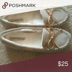 Lucky Brand Moccasins Grayish/Beige w/tan laces Bought them without trying them on bc they were the last in stock of size 9. Worn for 2 hours but they are too big! Super soft inside. Price is firm unless bundled bc they are cheaper than listed price by far and I just bought them. Lucky Brand Shoes Moccasins
