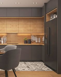 Kitchen Room Design, Kitchen Cabinet Design, Modern Kitchen Design, Home Decor Kitchen, Interior Design Kitchen, Kitchen Furniture, New Kitchen, Home Kitchens, Modern Grey Kitchen