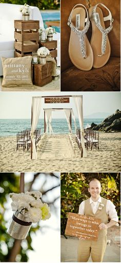 A beach wedding but with a ton of rustic details - and Princess Bride quotes!