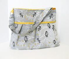 Diaper Bag Pattern Sewing PDF 5 Pockets Messenger Adjustable Strap Pleated Medium Purse