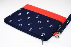 Navy blue with white anchors and coral accent wristlet, clutch, cosmetic bag, iPhone wristlet