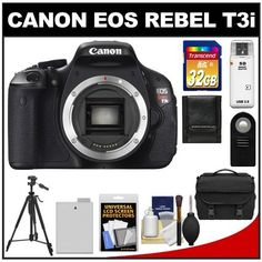 Canon EOS Rebel T3i Digital SLR Camera Body with 32GB Card + Battery + Case + RC-6 Remote + Tripod + Accessory Kit by Canon. $625.95. Kit includes:♦ 1) Canon EOS Rebel T3i Digital SLR Camera Body♦ 2) Transcend 32GB SecureDigital Class 10 (SDHC) Ultra-High-Speed Card♦ 3) Vivitar RC-6 Wireless Shutter Release Remote Control for Canon Digital SLR Cameras♦ 4) Spare LP-E8 Battery for Canon♦ 5) Precision Design 1000 Deluxe Digital SLR System Camera Case♦ 6) Precisio...