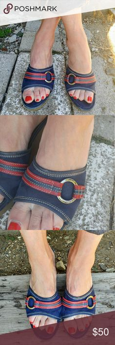 Coach Open Toe Blue and Red Wedges Preloved, normal wear on soles as seen in pics, Leather! Coach Shoes Sandals