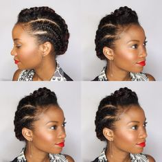 Simple Braided Updo For Short Natural Hair # Braids africanas natural hair 60 Easy and Showy Protective Hairstyles for Natural Hair Protective Hairstyles For Natural Hair, Natural Hair Braids, Short Hair Updo, Curly Hair Styles, Natural Hair Styles, Natural Braided Hairstyles, Natural Braids, Short Braids, Flat Twist Hairstyles