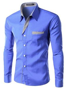 Long Sleeve Slim Men Shirt (13 Colors) Asian Size M-4XL
