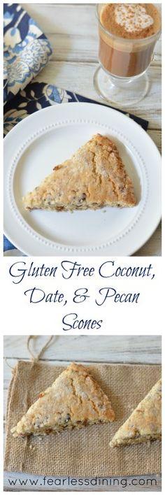 Gluten Free Coconut, Date, and Pecan Scones http://www.fearlessdining.com