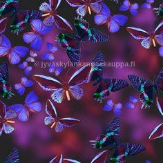 Oman tuotannon digiprintti. Purple Butterfly, Plants, Plant, Planets