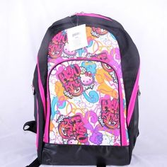 "Hello Kitty 16"" Backpack Graffiti Black Sanrio"