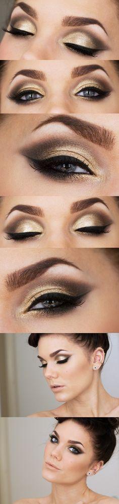 Gold smokey eye with winged liner  #MIBride #BridalBeauty #Weddingmakeup
