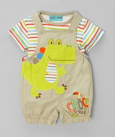 Take a look at this Multicoloured Striped Tee & Dino Dungarees by Chic Babies on #zulily today!