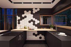 Apartments: Plasterlina Black White Geometric Tile Glass Window Modern Stove Black White Kitchen Accents: Lofted Opulence