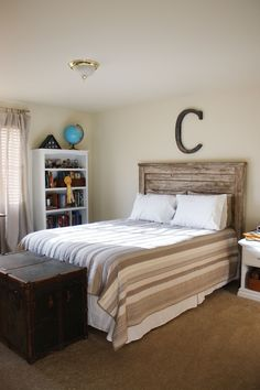 Headboard, handmade with old lumber. Would like it whitewashed.