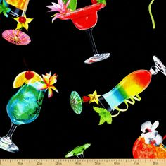 Happy Hour III Cocktail Cotton Fabric - Black by Beverlys.com