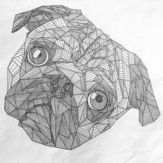 A4 Geometric Pug Print