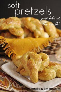 soft pretzels - just like at the mall!  @yourhomebasedmom.com  #recipes,#pretzels
