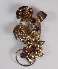 Gorgeous 1940's sterling retro brooch with glass amethyst stones!