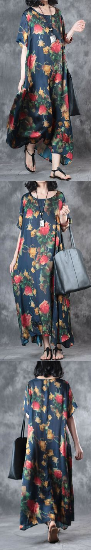 new blue print  silk dresses oversize large hem sundress short sleeve maxi dress