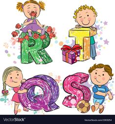 Funny alphabet with kids RQST Royalty Free Vector Image , Kids Vector, Free Vector Images, Vector Free, Vector Graphics, Abcd For Kids, Diy Tie Dye Techniques, Small Alphabets, Christmas Wooden Signs, Alphabet For Kids